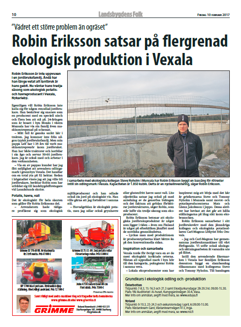 Robin Eriksson satsar på flergrenad ekologisk produktion i Vexala, LF6_2017, s.10