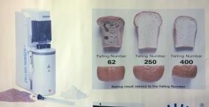 Planschen som hänger på väggen i labbet visar enkelt hur falltalet påverkar brödets bakningsegenskaper.
